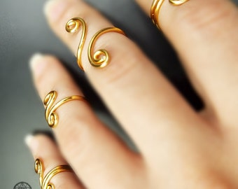 Ring Knuckle Ring Upper finger Mid finger Adjustable Midi Gold Plated Toe Ring Boho Hippie Bohemian jewellery Gift ideas for her Valentines