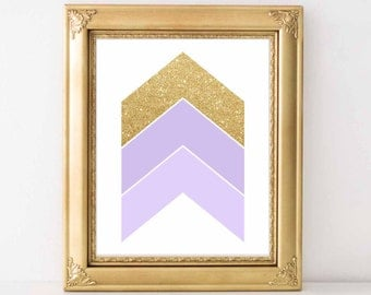 Chevron Arrows Lavender and Gold wall art print, Lavender and Gold nursery decor , Wall art printable, Abstract Wall Art, Digital File.