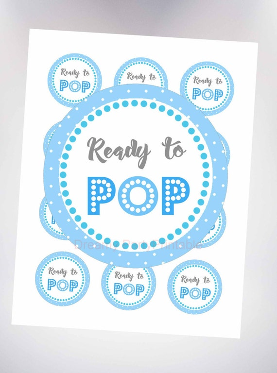 baby shower label template for favors - ready to pop sticker blue 2 ready to pop circles baby