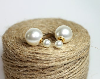 Pearl Double Ball Earring, Double Ball Earrings, Pearl Front Back Earrings,Two Sided Earring, Two Pearl Earring, Pearl Ball Earring