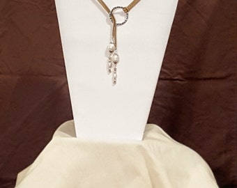 Pearl Beaded Suede Cord Lariat Necklace and Earrings Set