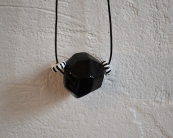 Black and white clay necklace