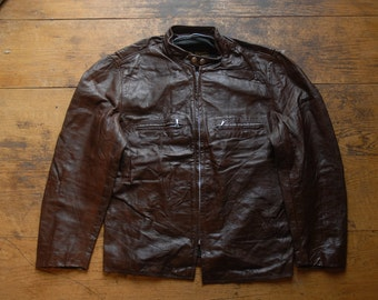 Vintage 1960's 70's Brooks Chocolate Brown Leather Cafe Racer Motorcycle Biker Jacket 42""