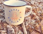Booze & Bonfires: Retro Enamel Camping Mug