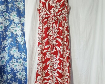 Vintage 50s 60s Jaye's Hawaiian Floral Print White & Red Dress USA Made