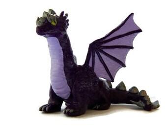 OOAK Purple Dragon Figurine - Merlin the Dragon