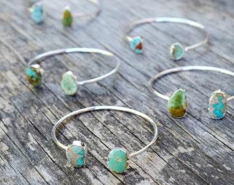 Raw Turquoise Bracelet, Free Form Turquoise Cuff Bracelet, Silver and Turquoise Stone Bangle, Druzy Style Stone Cuff, Genuine Turquoise Cuff