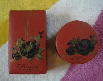 "VINTAGE c1920s Cheramy ""Offrande"" Perfume Bottle & Powder"