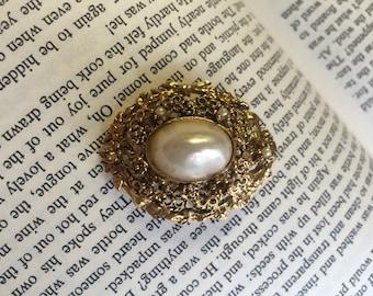 SALE Elegant Vintage Gold Finish White Stone 1950's Brooch