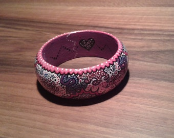 COLORFUL MIX (wooden bracelet) hand-painted Bangle made of maple wood