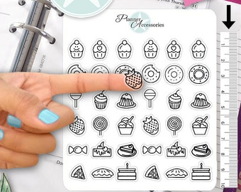 Clear Cupcake Stickers Cake Stickers Sweets Stickers Planner Stickers Erin Condren Live Planner Functional Stickers Food Sticker 402