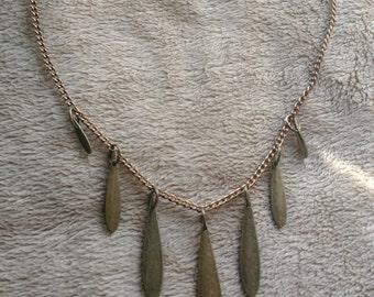 Brass teardop necklace