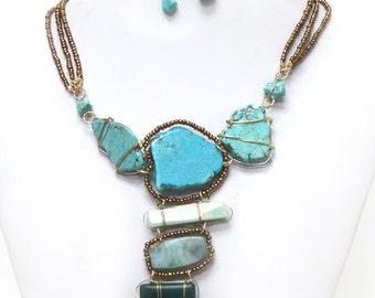 3 layer seedbead wire wrapped turquoise stones necklace set