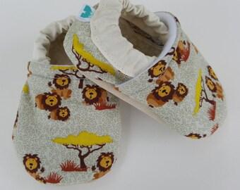 Lion, Safari, Moccasins, baby crib shoes, soft sole