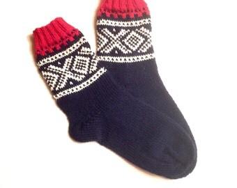 SUMMERSALE! Hand knit Norwegian Marius socks EU 36/37 US 5.5/6.5