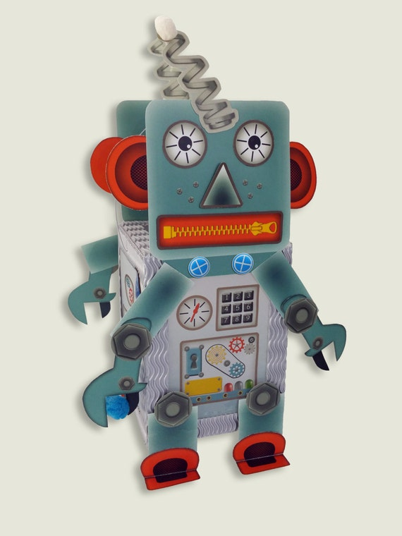 Lantern Paper Craft Kit Set • Robot Android • for children's birthdays Halloween decoration • make your own lantern • no cutting out needed