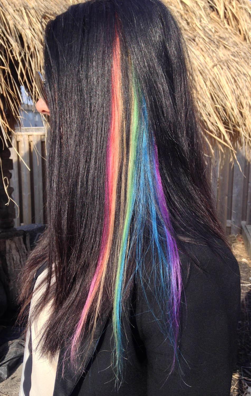 Rainbow Hair Extensions Hair extensions clip in Purple Hair