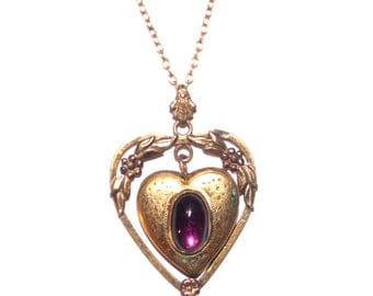 Vintage Gold Heart Necklace | Purple Gem
