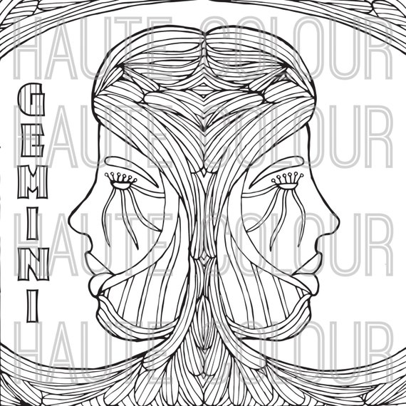 Gemini zodiac single coloring page digital download for Gemini coloring pages