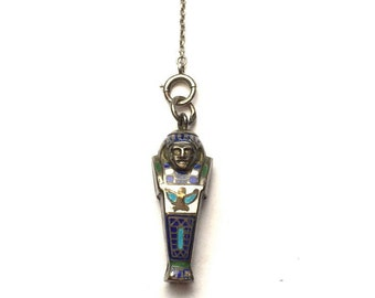 Vintage 1920s Art Deco Egyptian Revival Ladies Enamel Pencil Pendant and Sterling Silver Chain