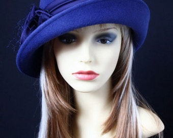 """Felt Hat """"Paulina with blue bow"""", women's cloche hat in blue, Classic Millinery Style"""