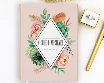 Wedding Guest Book Personalized Gold Guest Book Gold Guestbook Custom Guestbook Vintage Guest book Script Guest Book Pink Blush