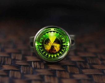 Radiation Hazard Symbol ring, Radioactive, Chemistry, Physics ring, Sci Fi Science ring, Fallout ring, men's ring,