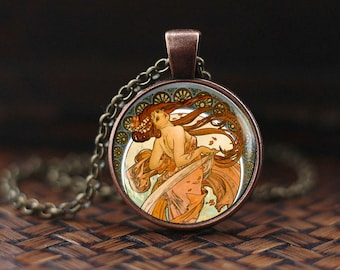 Art Nouveau Necklace, Beautiful lady painting necklace, Alphonse Mucha Necklace, Mucha Jewerly, art deco necklace