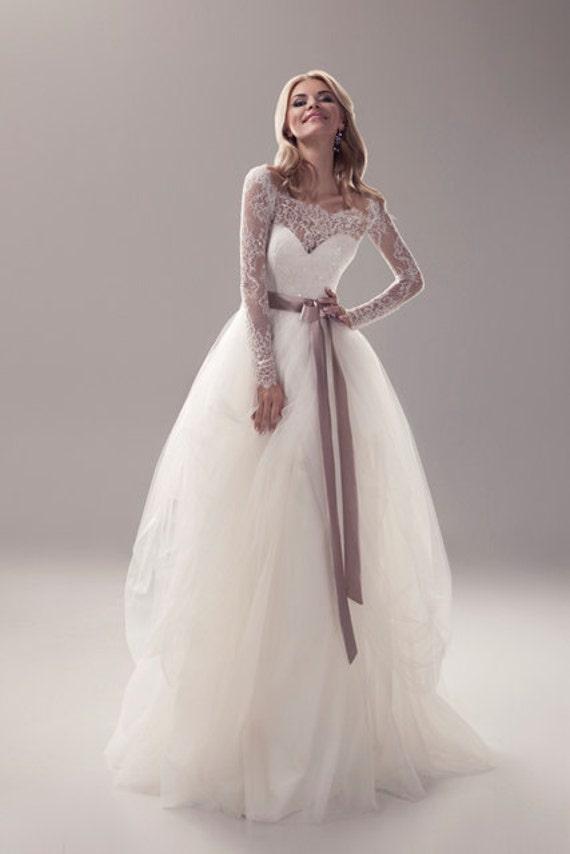Long sleeve wedding dress simple wedding by for Simple modern wedding dress