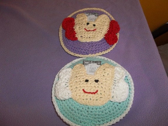 2 Hand crochet Tooth fairy pillows