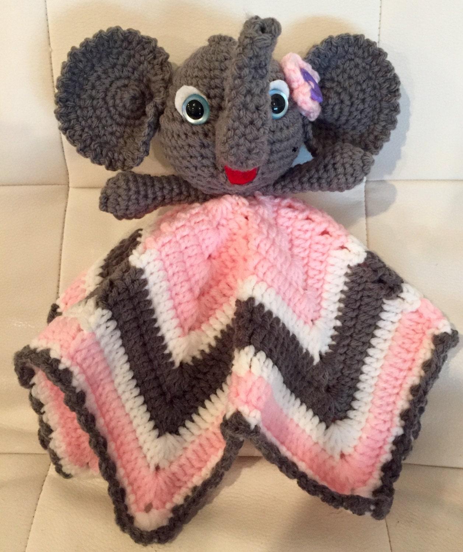 Crochet Elephant Lovey security blanket baby by ...