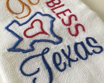 God Bless Texas - Texas Edition - 100% Cotton Huck Towel