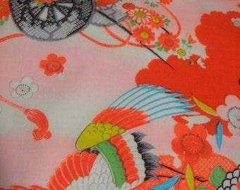 113: Vintage girl's kimono/light woolen fabric/colorful/crane/Japanese apricot/ume/flower/handmade/material/japan/pink/white