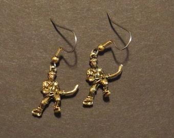 Ice Hockey Player Earrings 24 Karat Gold Plate or Oxidized Matte Silver EG356 / ES266