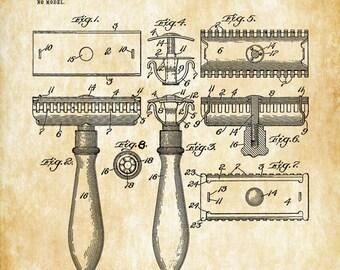 Gillette Razor Patent - Patent Print, Wall Decor, Bathroom Decor, Bathroom Art, Bathroom Poster, Bathroom Sign, Restroom Decor, Razor Patent