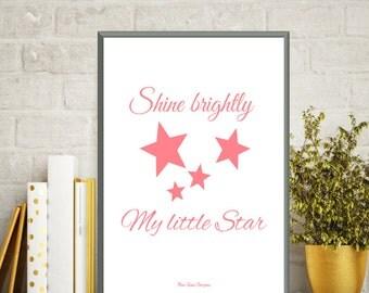 Poster baby love, Nursery art girl, Poster quote, Baby girl illustration, Baby poster, Little star, Baby girl decor, Quote baby, Art print
