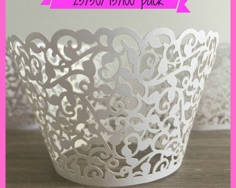 25/50/75/100 Wedding Cupcake Wrappers - Laser Cut -  Lace Cupcake Wrappers - Filigree Cupcake Wrappers Engagement White Cupcake Wrappers