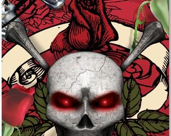 Skull Roses Cornhole Wrap Bag Toss Decal Baggo Skin Sticker Wraps