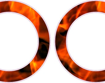 Firefighter Flames Fire Rings Cornhole Board Hole Ring Stickers Baggo Vinyl Decal