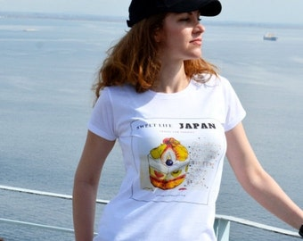 White womens t shirt 'JAPAN for Foodies' -  cotton tee - color print - original design by ©When Woman Travels