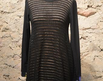 Sweater lace mesh dress