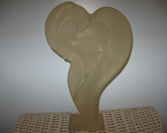 Austin Productions 1982 Art Deco Lucite Faces of Love Sculpture