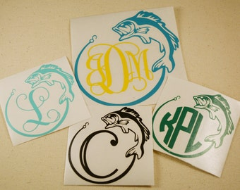 Fish Monogram Decal, Fish Decal - Fishing Decal - Monogram Decal - Inital Decal - Yeti Decal - Car Decal - Phone Decal - Truck Decal