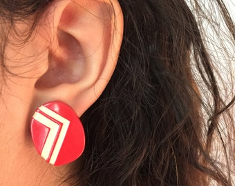 Vintage Red and White Striped Earrings