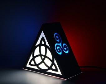 Ambient light with Triquetra. Triskel, triskelion, celtic, mithology. Decoration lamp, home decor, illumination, wood. Wicca, witch, pagan.