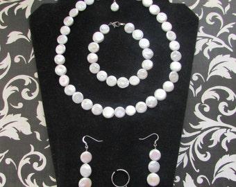 Custom Made Coin Fresh Water Pearl Set