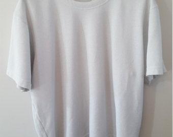 Short Sleeve Sweatshirt- White Metallic