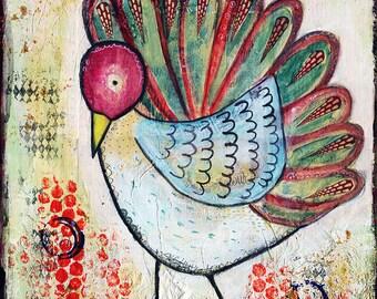 Colourful Bird Illustration, Art Print, wall art, Bird picture, Mixed media, Watercolour, ink, Acrylic Wall Art Print, A4 Print, A3 Print