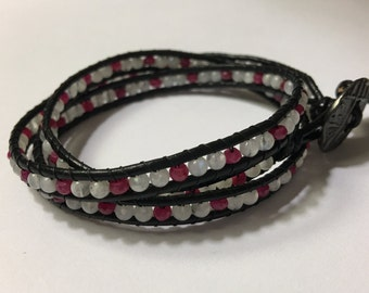 Genuine Leather Multi-Gemstone Triple Wrap Bracelet - Ruby & Moonstone