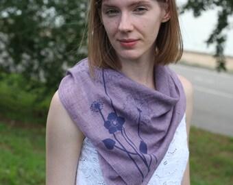 Dandelions square scarf. Blowballs scarf. Women's floral scarf. Women's square scarf. Pink scarf. Lilac scarf. Cotton scarf.